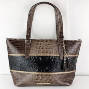 BRAHMIN CROC-EMBOSSED LEATHER TOTE PURSE HANDBAG
